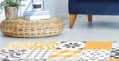 Alfombra vinílica mosaico amarilla